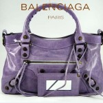 BALENCIAGA 103208-4 時尚女士CLASSIC FIRST茄紫色進口軟油臘皮機車包