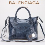 BALENCIAGA 085616 明星至愛單品寶藍色進口油臘皮鉚釘機車包購物袋