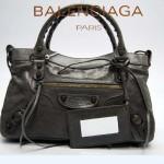 BALENCIAGA 103208-5 時尚女士CLASSIC FIRST深銀灰進口軟油臘皮機車包