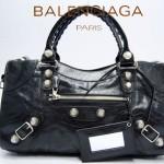 BALENCIAGA 173082A 歐美時尚新款黑色進口軟油臘皮機車包