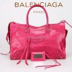 BALENCIAGA 266433-6 歐美潮流女士桃紅進口油臘皮珍珠銀釘機車包