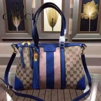 GUCCI 353116-3 歐美時尚新款杏布配雅藍色皮彩色織帶手提單肩包