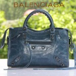 BALENCIAGA 300298-8 簡約復古新款女士寶藍色進口油臘皮機車包