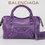 BALENCIAGA 085832-2 潮流個性新款紫色花邊穿孔皮釘機車包手提包