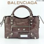 BALENCIAGA 085332A-6-灰紫進口油皮白大釘 巴黎世家女士手提包 時尚單肩包