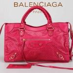 BALENCIAGA 086332-2 時尚女士新款桃紅色進口皮激光穿孔金小釘機車包