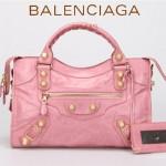 BALENCIAGA 085332B-2 潮流時尚新款粉紅色進口油臘皮金大釘機車包
