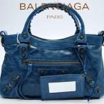 BALENCIAGA 103208 時尚女士CLASSIC FIRST寶藍色進口軟油臘皮機車包