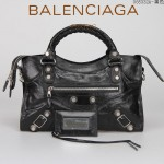 BALENCIAGA 085332A-4-黑色進口油皮銀色大釘 巴黎世家女士手提包 時尚單肩包