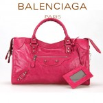 BALENCIAGA 085332D-5 歐美復古女士桃紅色進口油臘皮小花釘單肩手提包