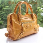 BALENCIAGA 300295B-2 爆款潮流女士MINI CITY橘黃色全皮配小金釘機車包