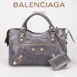 BALENCIAGA 085332B-8 潮流時尚新款深灰色進口油臘皮金大釘機車包