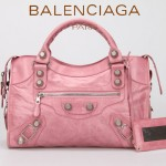 BALENCIAGA 085332A-3-粉紅進口白大釘 巴黎世家女士手提包 時尚單肩包
