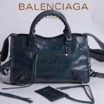 BALENCIAGA 300298-9 簡約復古新款女士寶藍色進口油臘皮機車包