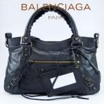 BALENCIAGA 103208-2 時尚女士CLASSIC FIRST黑色進口軟油臘皮機車包