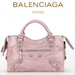 BALENCIAGA 085332A-8-淺粉進口油皮白大釘 巴黎世家女士手提包 時尚單肩包