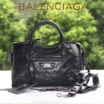 BALENCIAGA 300298-4 簡約復古新款女士黑色進口油臘皮機車包