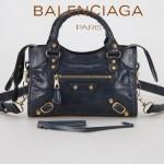 BALENCIAGA 300295-2 個性時尚新款寶藍色全皮進口小金釘機車包
