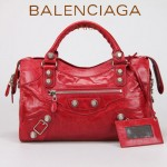 BALENCIAGA 085332A-2-大紅進口白大釘 巴黎世家女士手提包 時尚單肩包
