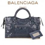 BALENCIAGA 085332D 歐美復古女士寶藍色進口油臘皮小花釘單肩手提包