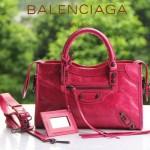 BALENCIAGA 300298 簡約復古新款女士桃紅色進口油臘皮機車包