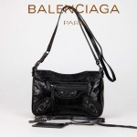 BALENCIAGA 242803 新款女士黑色進口油臘皮卡古銅小釘單肩斜挎包