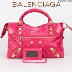 BALENCIAGA 085332B-10 潮流時尚新款桃紅色進口油臘皮金大釘機車包