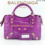 BALENCIAGA 085332B-12 潮流時尚新款中紫色進口油臘皮金大釘機車包