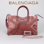 BALENCIAGA 266433-5 歐美潮流女士水蜜桃進口油臘皮珍珠銀釘機車包
