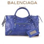 BALENCIAGA 085332D-2 歐美復古女士海藍色進口油臘皮小花釘單肩手提包