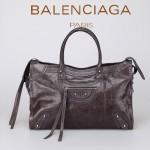 BALENCIAGA 266433-4 歐美潮流女士深灰色進口油臘皮珍珠銀釘機車包