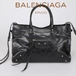 BALENCIAGA 266433-2 歐美潮流女士黑色進口油臘皮珍珠銀釘機車包