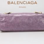 BALENCIAGA 085332B-7 潮流時尚新款茄紫色進口油臘皮金大釘機車包