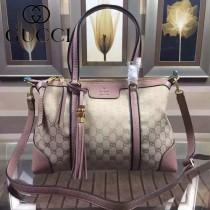 GUCCI 353116-2 歐美時尚新款杏布配裸粉色皮手提單肩包
