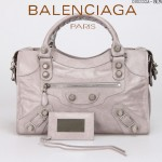 BALENCIAGA 085332A-9-淺灰進口油皮銀色大釘 巴黎世家女士手提包 時尚單肩包