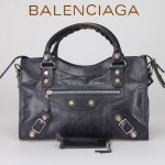 BALENCIAGA 085332A-寶藍進口油皮白大釘 巴黎世家女士手提包 時尚單肩包