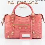 BALENCIAGA 085332B-11 潮流時尚新款西瓜紅色進口油臘皮金大釘機車包