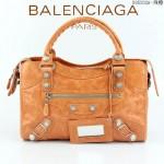 BALENCIAGA 085332A-7-淺橙進口油皮白大釘 巴黎世家女士手提包 時尚單肩包