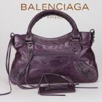 BALENCIAGA 103208-6 時尚女士CLASSIC FIRST紫藍色進口軟油臘皮機車包