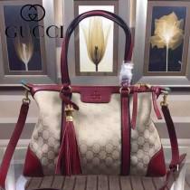 GUCCI 353116-4 歐美時尚新款杏布配棗紅色皮手提單肩包