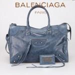 BALENCIAGA 266433 歐美潮流女士寶藍色進口油臘皮珍珠銀釘機車包
