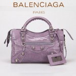 BALENCIAGA 085332A-10-茄紫進口油皮銀色大釘 巴黎世家女士手提包 時尚單肩包