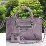 BALENCIAGA 300298-3 簡約復古新款女士茄紫色進口油臘皮機車包