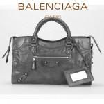 BALENCIAGA 085332D-4 歐美復古女士深灰色進口油臘皮小花釘單肩手提包
