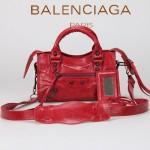 BALENCIAGA 300295-3 個性時尚新款大紅色全皮進口黑小釘機車包