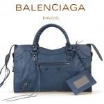 BALENCIAGA A085332 人氣熱銷女士寶藍色原版皮鉚釘機車包手提肩背包