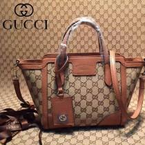 GUCCI 368827-8 最新款女士迷你淺杏布配棕色皮手提單肩包
