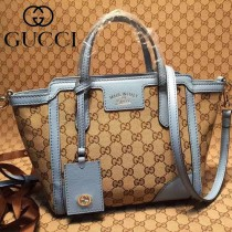 GUCCI 368827-5 最新款女士迷你淺杏布配水藍色皮手提單肩包