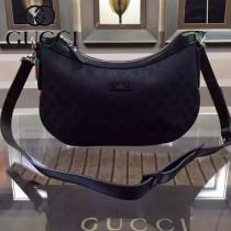 GUCCI 353399-2 新款黑色經典月亮型帆布斜挎單肩女包