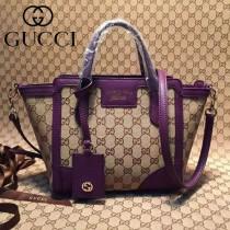 GUCCI 368827-4 最新款女士迷你淺杏布配深紫色皮手提單肩包
